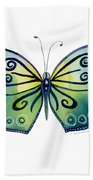 92 Teal Button Cap Butterfly Beach Towel by Amy Kirkpatrick
