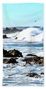 Seascape And Sea Gulls Beach Towel