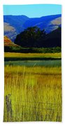 A Barn And Field In The Morning Beach Towel