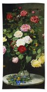 A Bouquet Of Roses In A Glass Vase By Wild Flowers On A Marble Table Beach Towel