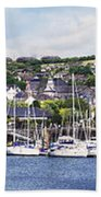 A Busy Harbour And Waterfrontkinsale Beach Towel
