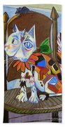 A Cat For Picasso_ Chat Et Souris Beach Towel