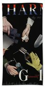 A Charm Cover Of Women's Hands Reaching For Tools Beach Sheet