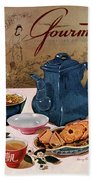 A Chinese Tea Pot With Tea And Cookies Beach Towel