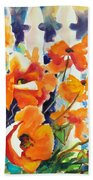 A Choir Of Poppies Beach Towel by Kathy Braud