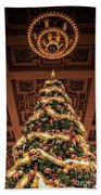 A Christmas Tree At Union Station Beach Towel