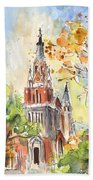 A Church In Our Street In Budapest Beach Towel