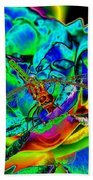 A Cosmic Dragonfly On A Psychedelic Rose Beach Towel