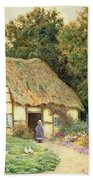 A Cottage By A Duck Pond Beach Towel