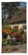 A Cottage Garden With Chickens Beach Towel