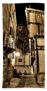 A Couple In A Little Restaurant In The Ancient City Of Albarracin Beach Towel