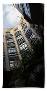 A Courtyard Curved Like A Hug - Antoni Gaudi's Casa Mila Barcelona Spain Beach Sheet
