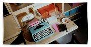 A Cupboard With A Blue Typewriter Beach Sheet