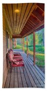 A Deck By The Methow River At Cottonwood Cottage Beach Towel