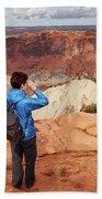 A Female Hiker Looking Beach Towel