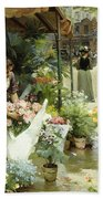 A Flower Market In Paris Beach Towel