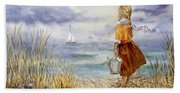 A Girl And The Ocean Beach Towel