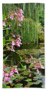 A Glimpse Of Monet's Pond At Giverny Beach Towel