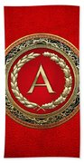 A - Gold Vintage Monogram On Red Leather Beach Towel