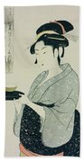 A Half Length Portrait Of Naniwaya Okita Beach Towel