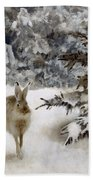 A Hare In The Snow Beach Towel