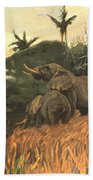 A Herd Of Elephants By Moonlight Beach Towel