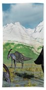 A Herd Of Parasaurolophus Dinosaurs Beach Towel