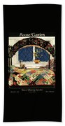 A House And Garden Cover Of A Four-poster Bed Beach Towel