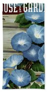 A House And Garden Cover Of Flowers Beach Sheet