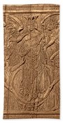 A King Carved In Wood Beach Towel