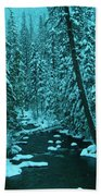 A Leaning Tree Over The Little Naches River Beach Towel
