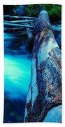 A Log Over Rapids Beach Towel