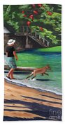 A Man And His Dog Beach Towel