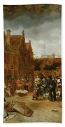 A Marketplace In Winter, 1653 Beach Towel