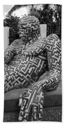 A Maze Ing Man 5 Black And White Beach Towel
