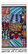 A Menagerie Of Colorful Quilts Triptych Beach Towel