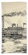 A Mississippi Steamer Off St Louis From American Notes By Charles Dickens  Beach Towel by EH Fitchew