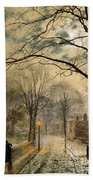 A Moonlit Stroll Bonchurch Isle Of Wight Beach Towel by John Atkinson Grimshaw