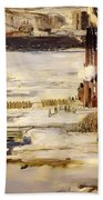 A Morning Snow On The Hudson River Beach Towel