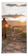 A Mother And Child Hike At Sunset Beach Towel