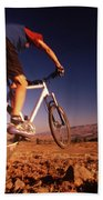 A Mountain Bike Rider On A Ride Beach Towel