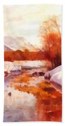 A Mountain Torrent In A Winter Landscape Beach Towel