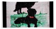 A Newfoundland Dog And A Labrador Retriever Beach Sheet