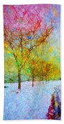 A Painted Winter Beach Towel