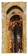 A Painting A Tuscan Shop Doorway Beach Towel