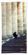 A Painting Alone Among The Vatican Columns Beach Sheet