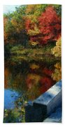 A Painting Autumn Lake And Bridge Beach Towel