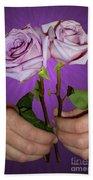 A Pair Of Purple Roses Beach Towel