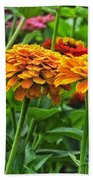 A Pair Of Yellow Zinnias 03 Beach Towel