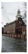 A Rainy Day At Independence Hall Beach Towel